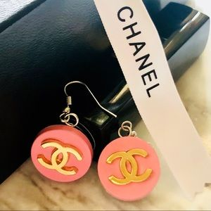 CHANEL Authentic Pink & Gold Logo Vintage Earrings